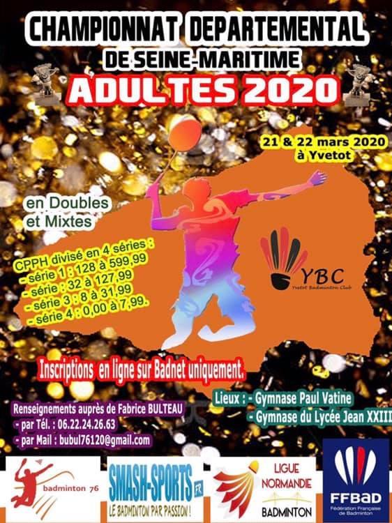 image affiche départemental adultes 2020 badminton